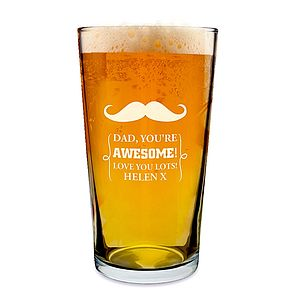 Personalised Moustache Pint Glass - drink & barware