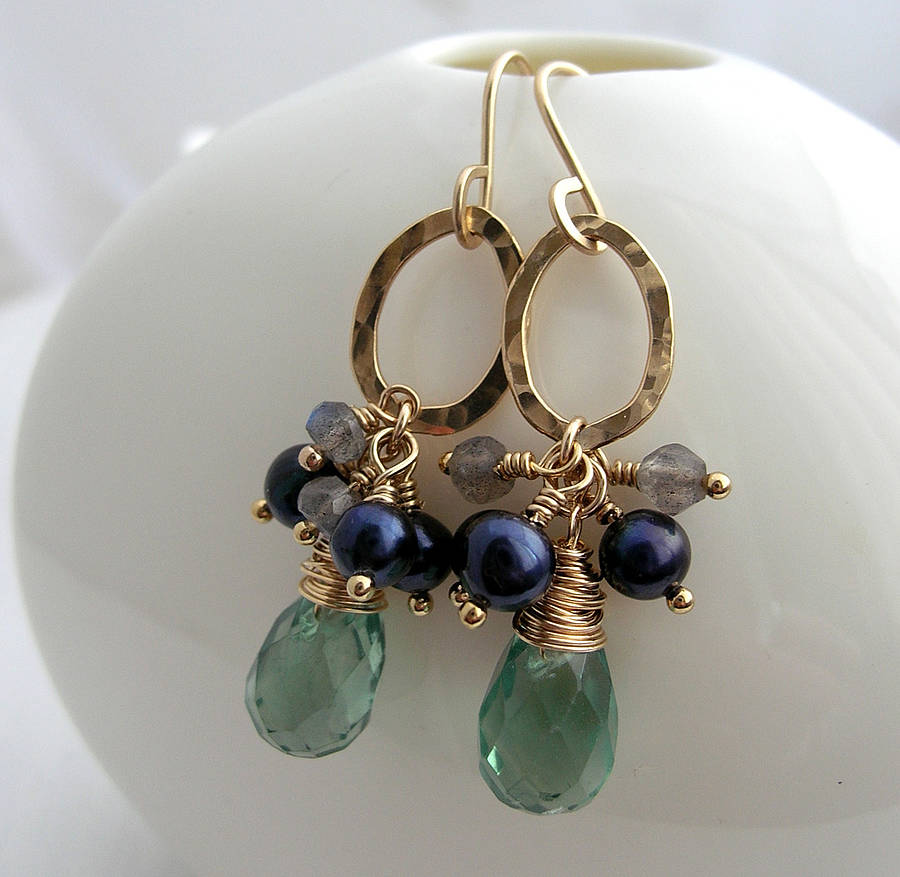 Green Stone Drop Earrings
