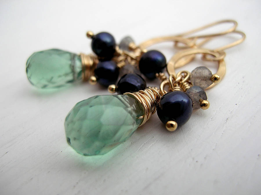 Green Stone Drop Earrings By Sarah Hickey