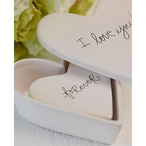 Two Porcelain Heart Trinket Boxes - storage