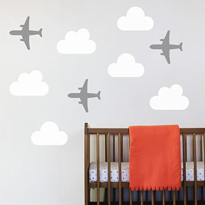 Set Of Three Aeroplane Wall Stickers