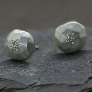 Silver And Diamond Earrings,Pebble Shape - earrings