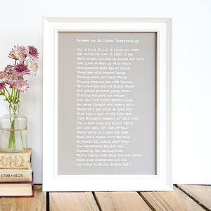 Bespoke Framed Christening Poem Print - baby's room