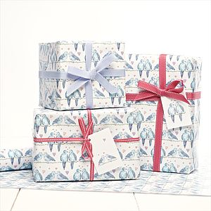 Lovebirds Gift Wrap - ribbon & wrap