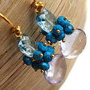 Pink Amethyst Blue Topaz Turquoise Earrings