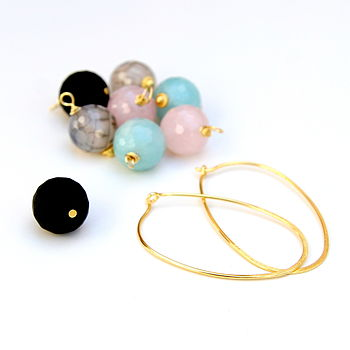 Oval Hoops And Large Gem Stones Set
