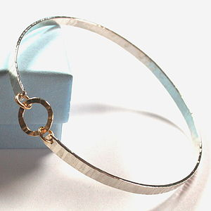 Single Hammered Bangle With Gold Links