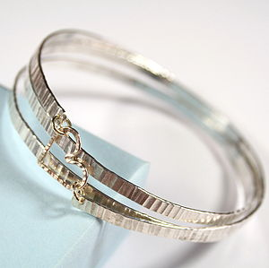 Hammered Spiral Bangle With Gold Heart
