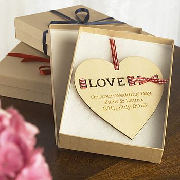 Personalised 'Love' Ribbon Keepsake Heart