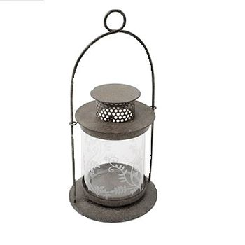 Floral Etched Glass Candle Lantern