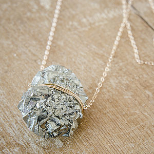 Pyrite Cluster Druzy Necklace - january blues, greens & greys