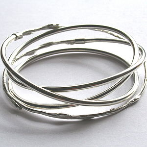 Spiral Silver And Cast Willow Bangle