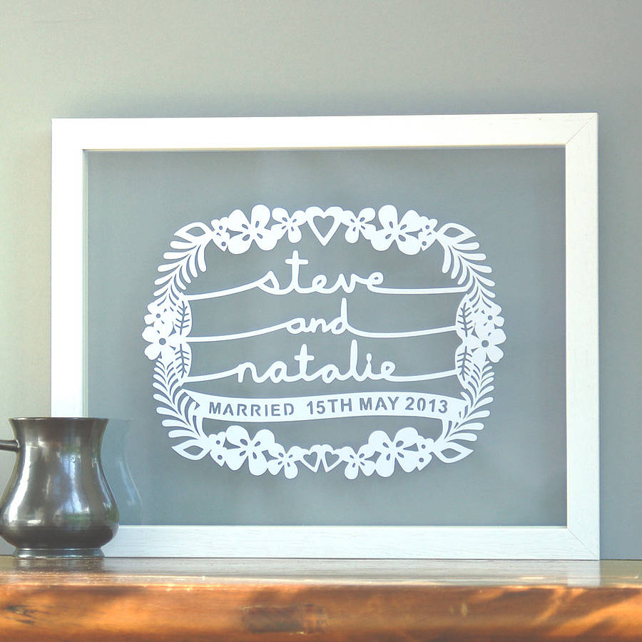 Wedding Gift Paper: Personalised Wedding Gift Papercut Wall Art By Ant Design