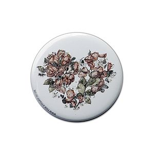Floral Heart Pocket Compact Mirror