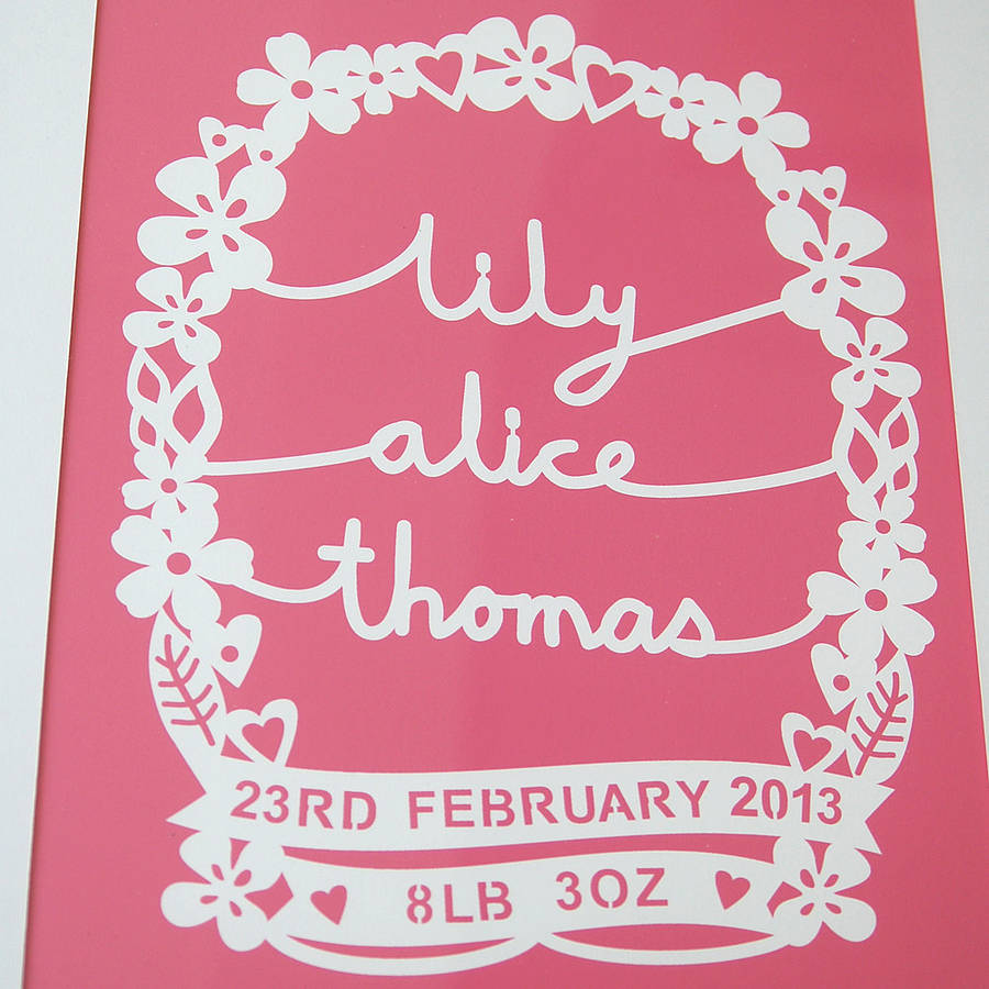 Personalised baby name print by ant design gifts personalised baby name print negle Images