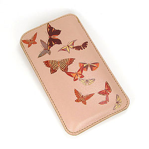 Butterflies Printed Leather Phone Case