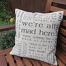 Alice in Wonderland Cushion Linen/Cotton mix fabric