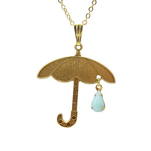 April Shower Umbrella And Raindrop Necklace