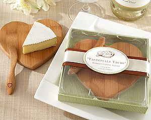 Heart Shaped Bamboo Cheese Board - wedding favours
