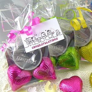 Foiled Chocolate Heart Wedding Favour - wedding favours