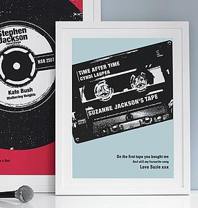 Personalised Number One Cassette Print - children's living