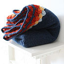 Navy Blanket With Crochet Edge Pram Blanket