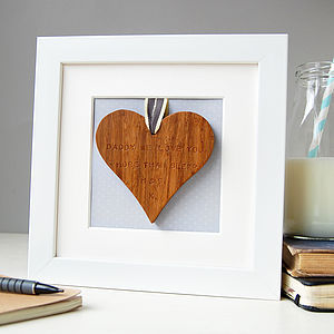 Personalised Framed Wooden Heart - for fathers