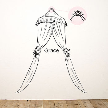 Personalised Princess Bed Canopy Wall Sticker