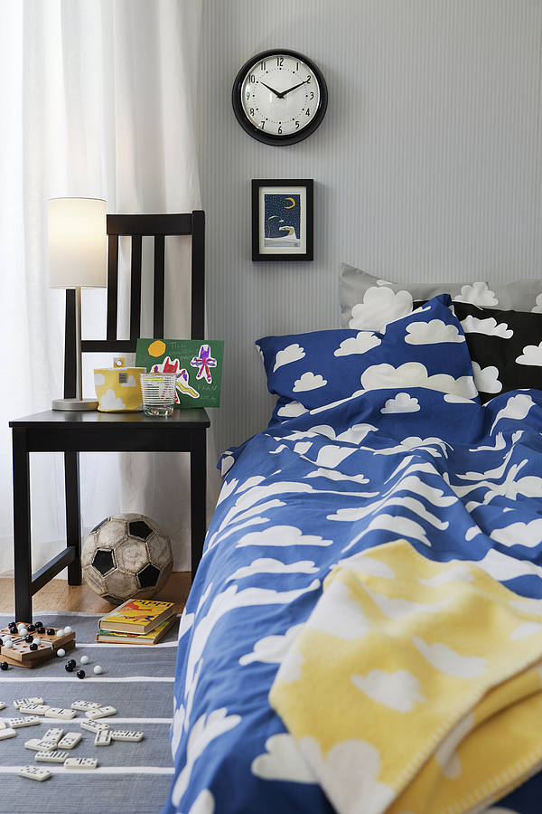 Blue Cloud Print Single Bed Set By Nubie Modern Kids