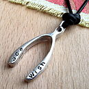 Personalised Silver Wishbone Necklace