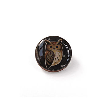 Owl Design Button Brooch