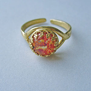 Caelia Vintage Glass Fire Opal Ring