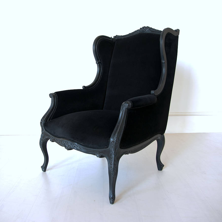 black french wingback chair by out there interiors  : originalblack french wingback chair from www.notonthehighstreet.com size 900 x 900 jpeg 43kB