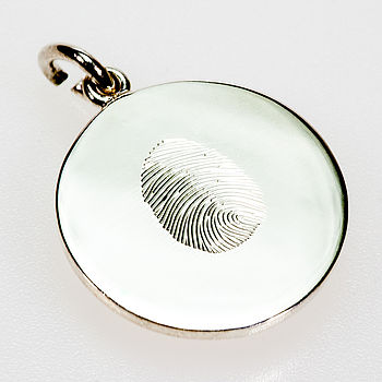 Personalised hand engraved fingerprint silver disc charm