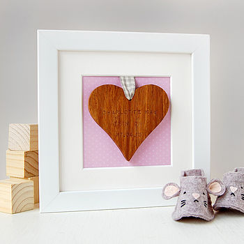 Personalised Baby Framed Heart Keepsake Pink Background