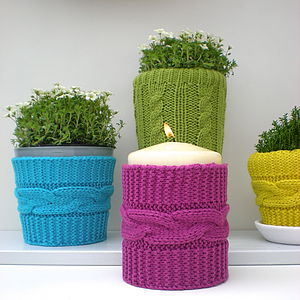 Knitted Vase Cosies - christmas lights