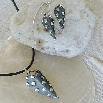 Dotty Heart Silver Pendant And Earring Set