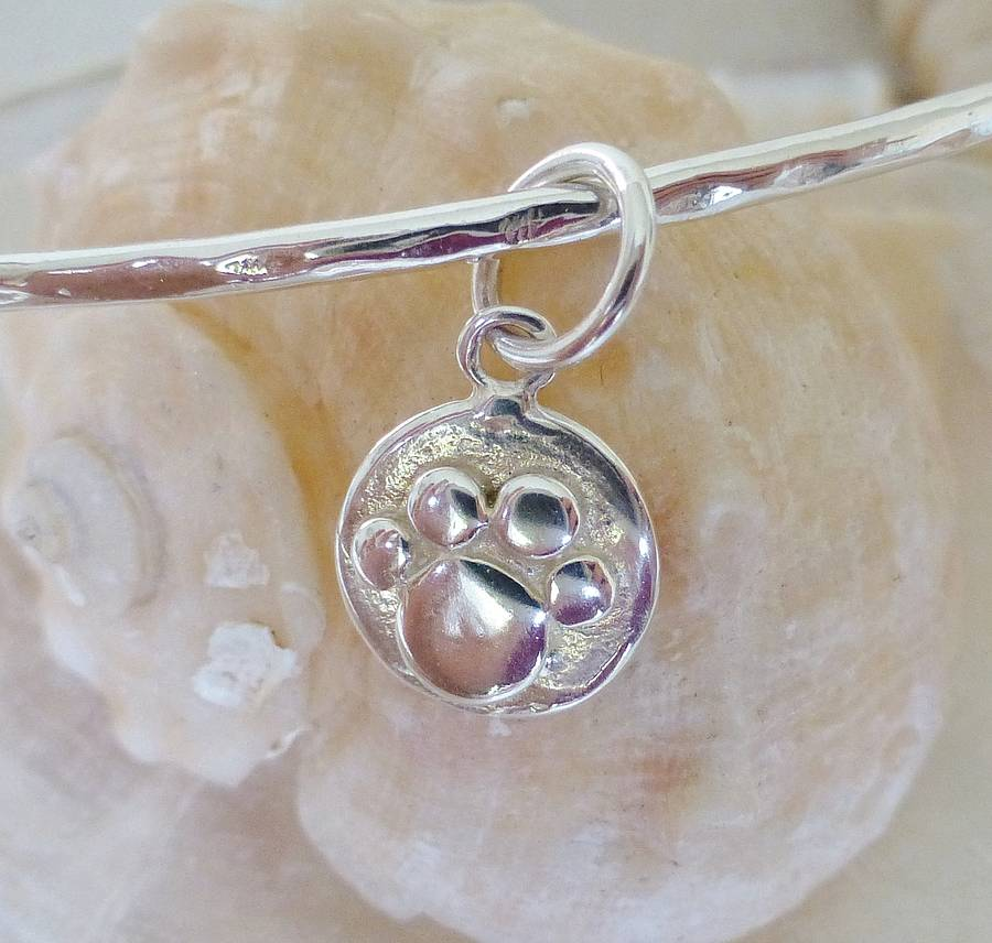 0992445601a silver paw print charm bangle by anne reeves jewellery ...