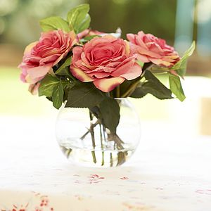 Silk Roses In Glass Vase - dining room