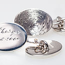 Hand engraved chain-link silver oval cufflinks