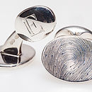 Bar-clip silver fingerprint cufflinks