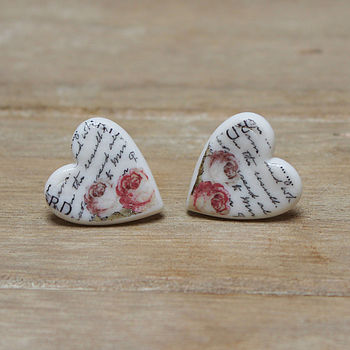 Porcelain heart rose and writing earrings