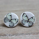 Porcelain round butterfly earrings