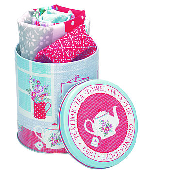 Teatime Tea Towel In Gift Tin