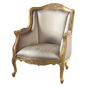 Gold French Chair High Arms - armchairs