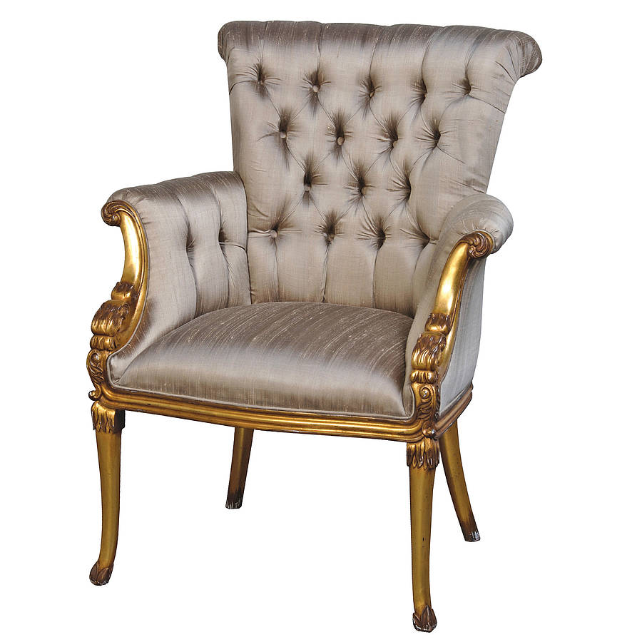 French Gold Chair With Button Upholstery