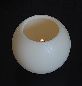 Hollow Wax Candle Lit By Separate Fuel Cell - lighting