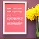 Personalised Nanny / Grandma Dictionary Print