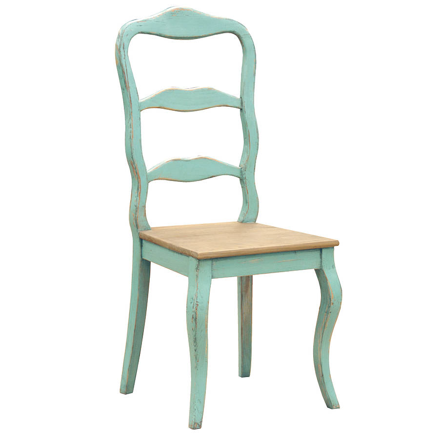Distressed turquoise dining chair by out there interiors for Kitchen dining room chairs