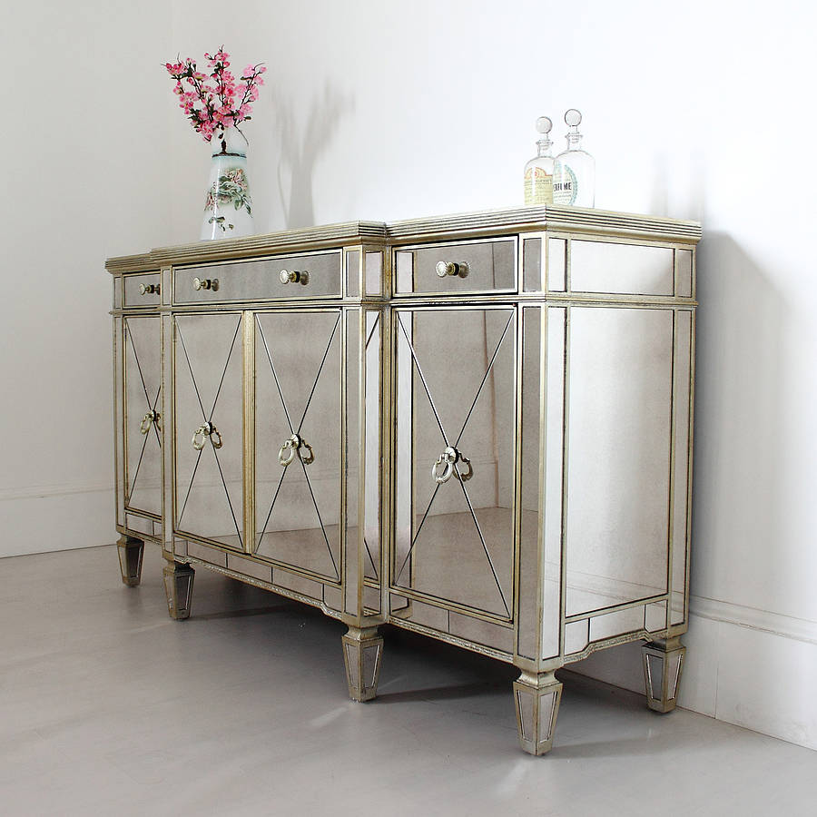 long antique mirrored sideboard by out there interiors. Black Bedroom Furniture Sets. Home Design Ideas